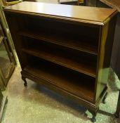 A Mahogany Open Bookcase, Raised on cabriole feet, 92cm high, 93cm wide, 27cm deep