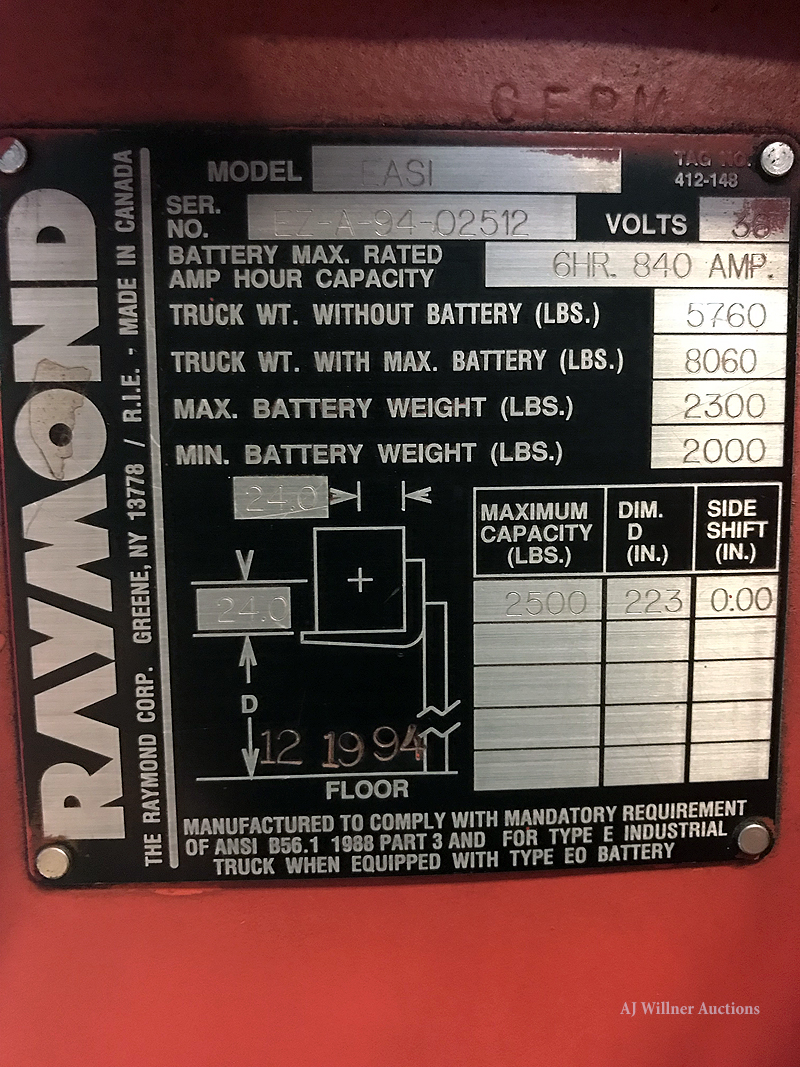 Lot 49 - Raymond Model EASI, 2,500 lbs. Cap, Reach Truck