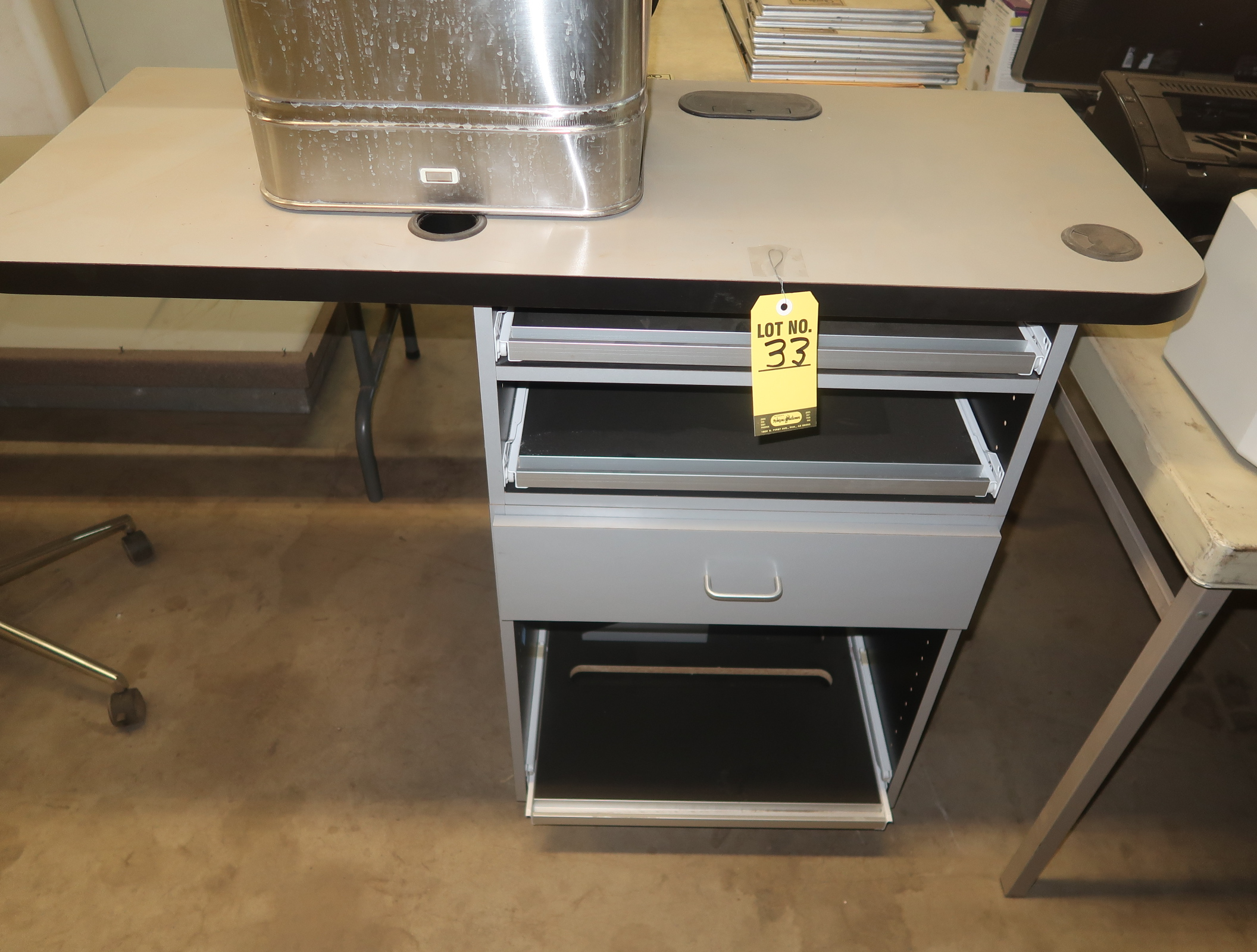 Lot 33  Computer Table W Sliding Drwaers