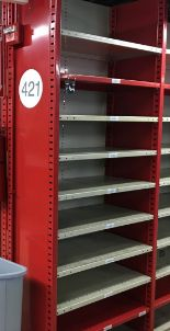 """Lot 29 - 52 SECTIONS OF HALLOWELL H-POST CLOSED BACK SHELVING, SIZE :98.5""""H X 18""""D X 36""""W WITH 5 SHELVES EACH"""