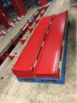 "Lot 30 - 52 SECTIONS OF HALLOWELL H-POST CLOSED BACK SHELVING, SIZE :98.5""H X 18""D X 36""W WITH 5 SHELVES EACH"