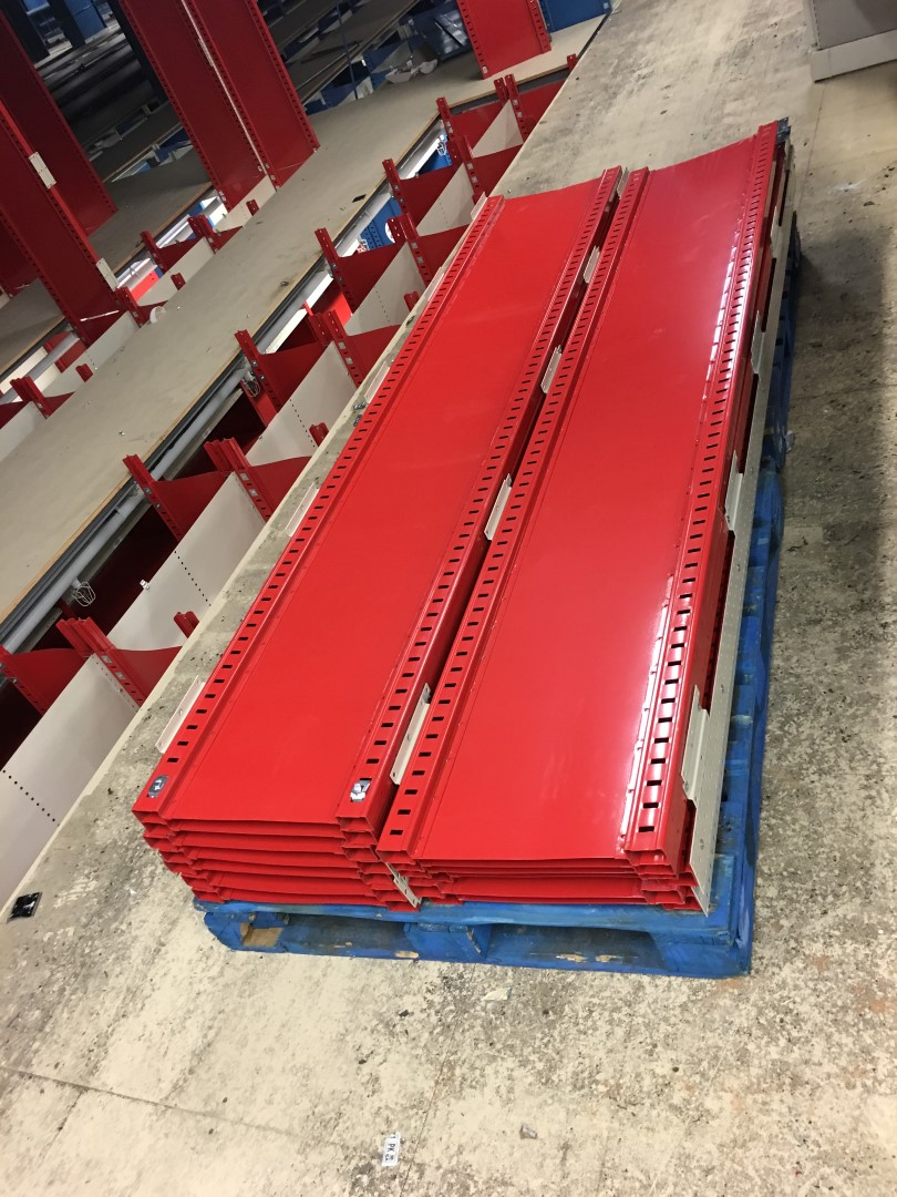 "Lot 25 - 26 SECTIONS OF HALLOWELL H-POST CLOSED BACK SHELVING, SIZE:98.5""H X 18""D X 36""W WITH 5 SHELVES EACH"