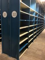 """Lot 35 - 52 SECTIONS OF HALLOWELL H-POST CLOSED SHELVING, SIZE : 98""""H X 18""""D X 36""""W WITH 5 SHELVES EACH"""