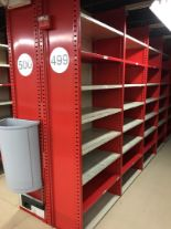 "Lot 28 - 26 SECTION OF HALLOWELL H-POST CLOSED BACK SHELVING, SIZE : 98.5""H X 18""D X 36""W WITH 5 SHELVES EACH"