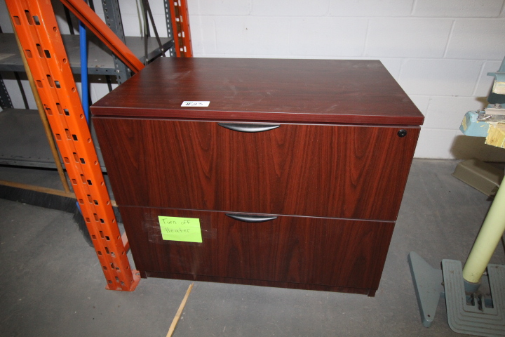 Lot 23 - Job Lot of Office Furniture Desk, Credenza, 2 Drawer Filing Cabinet