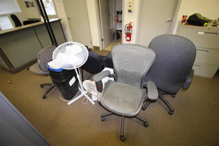 Lot 5 - Job lot of Office Chairs including Fan, Heaters and Buckets