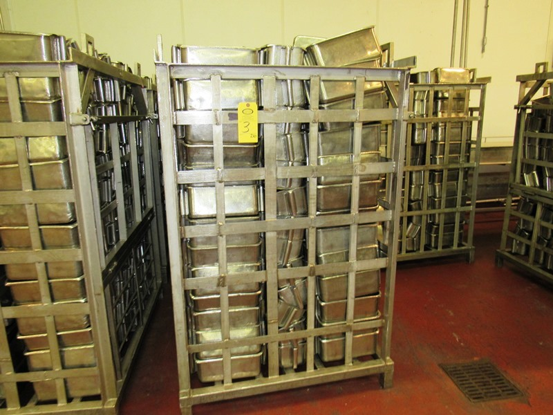 "Lot 3 - Stainless Steel Ham Molds, 6"" W X 12"" L X 5 1/2"" D, in stainless steel bin, 14 Pound Mold, mix of"