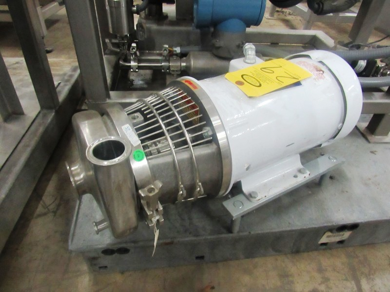 """Lot 29 - Tri Clover Stainless Steel Centrifugal Pump, 1"""" inlet, 2"""" outlet, on 5 h.p. wash-down motor, 230/460"""