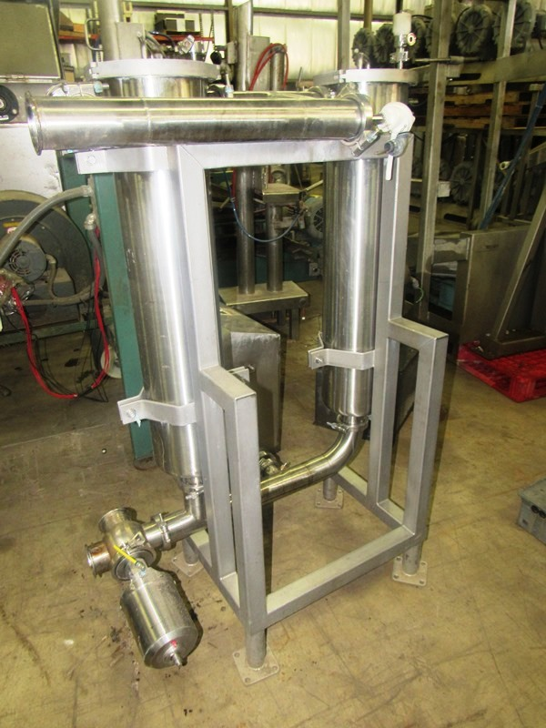 "Lot 49 - Stainless Steel Dual Inline Filters, 8"" Dia. X 36"" L filter cartridge, air activated pump"