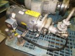 "Lot 30 - Tri Clover Stainless Steel Centrifugal Pump, 2"" inlet, 3"" outlet, on 10 h.p. wash-down motor, 230/"