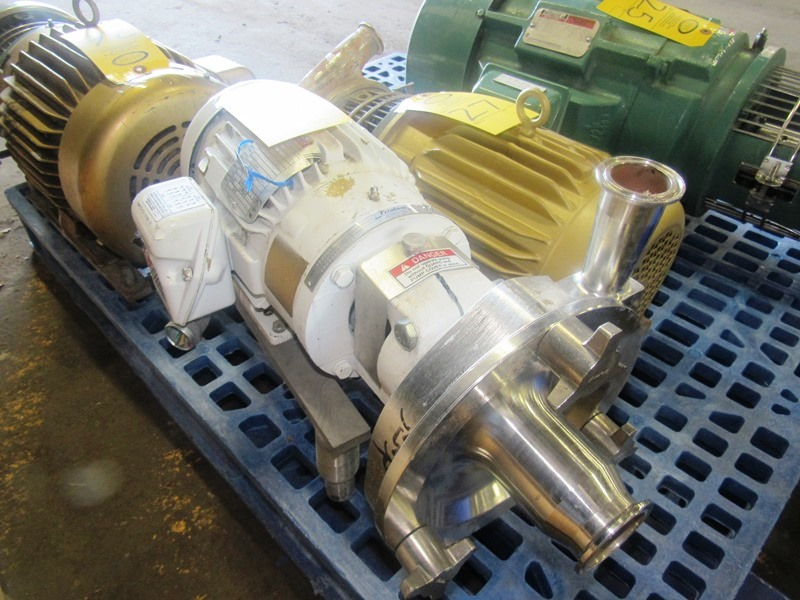 "Lot 28 - Fristam Stainless Steel Centrifugal Pump 1"" inlet, 2"" outlet, on 1 1/2 h.p., 230/460 volt motor"