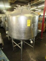 "Lot 54 - Stainless Steel Single Wall Tank, approx. 40"" Dia. X 36"" D. 20"" Dia. top manhole (3) 1"" dia. top"