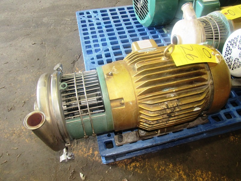 "Lot 26 - Tri-Clover Stainless Steel Centrifugal Pump 1 1/2"" inlet, 2"" outlet, on 10 h.p., 230/460 volt motor"