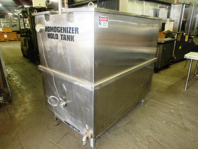 "Lot 48 - Stainless Steel Homogenizer Hold Tank, 3' W X 5' L X 44"" D with temperature gauge"
