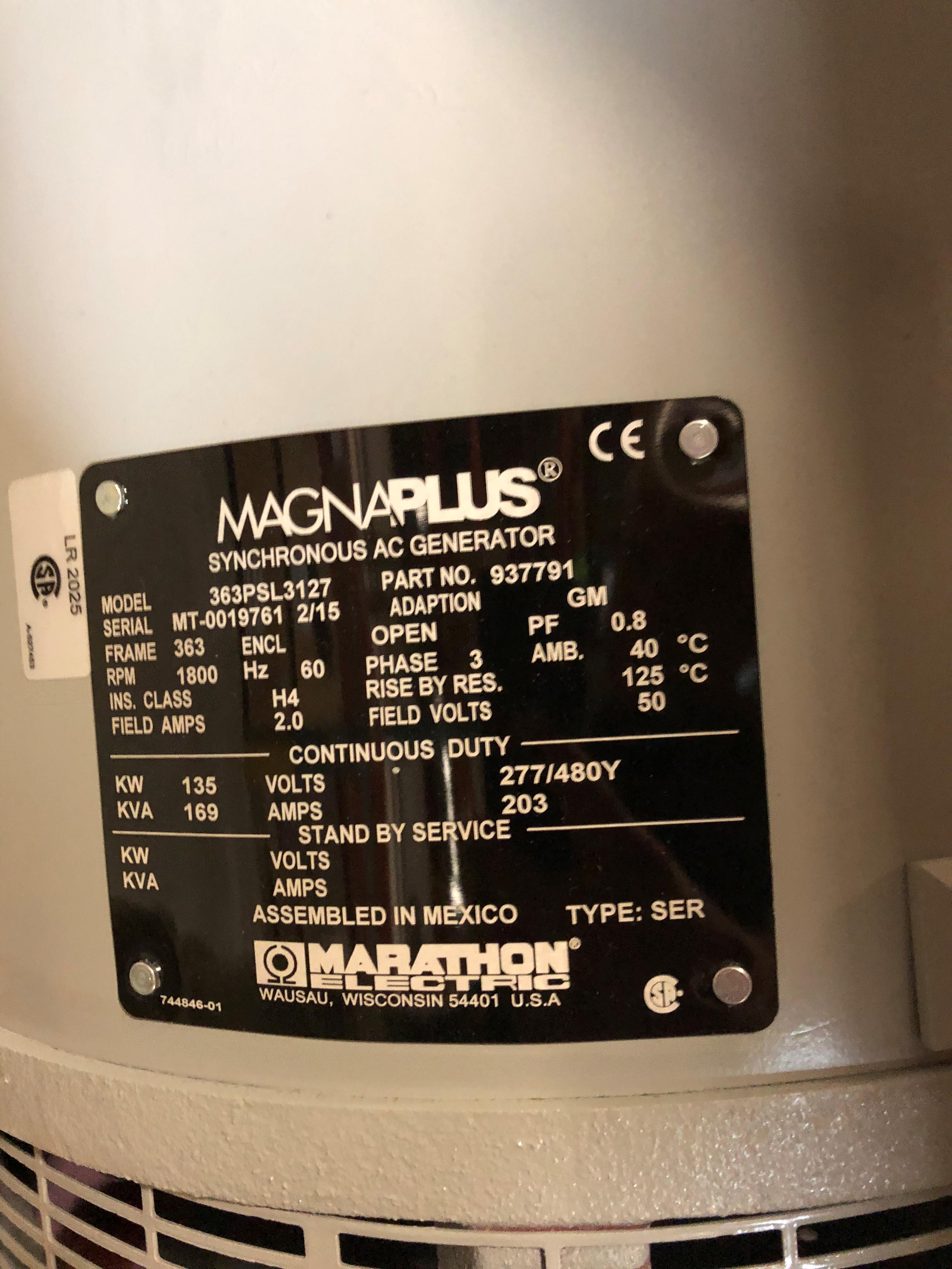 Lot 3 - MAGNAPLUS SYNCHRONOUS GENERATOR MODEL-363PSL3127; 135KW/480V/4POLE/3PH/60HZ/1800RPM/363FRAME