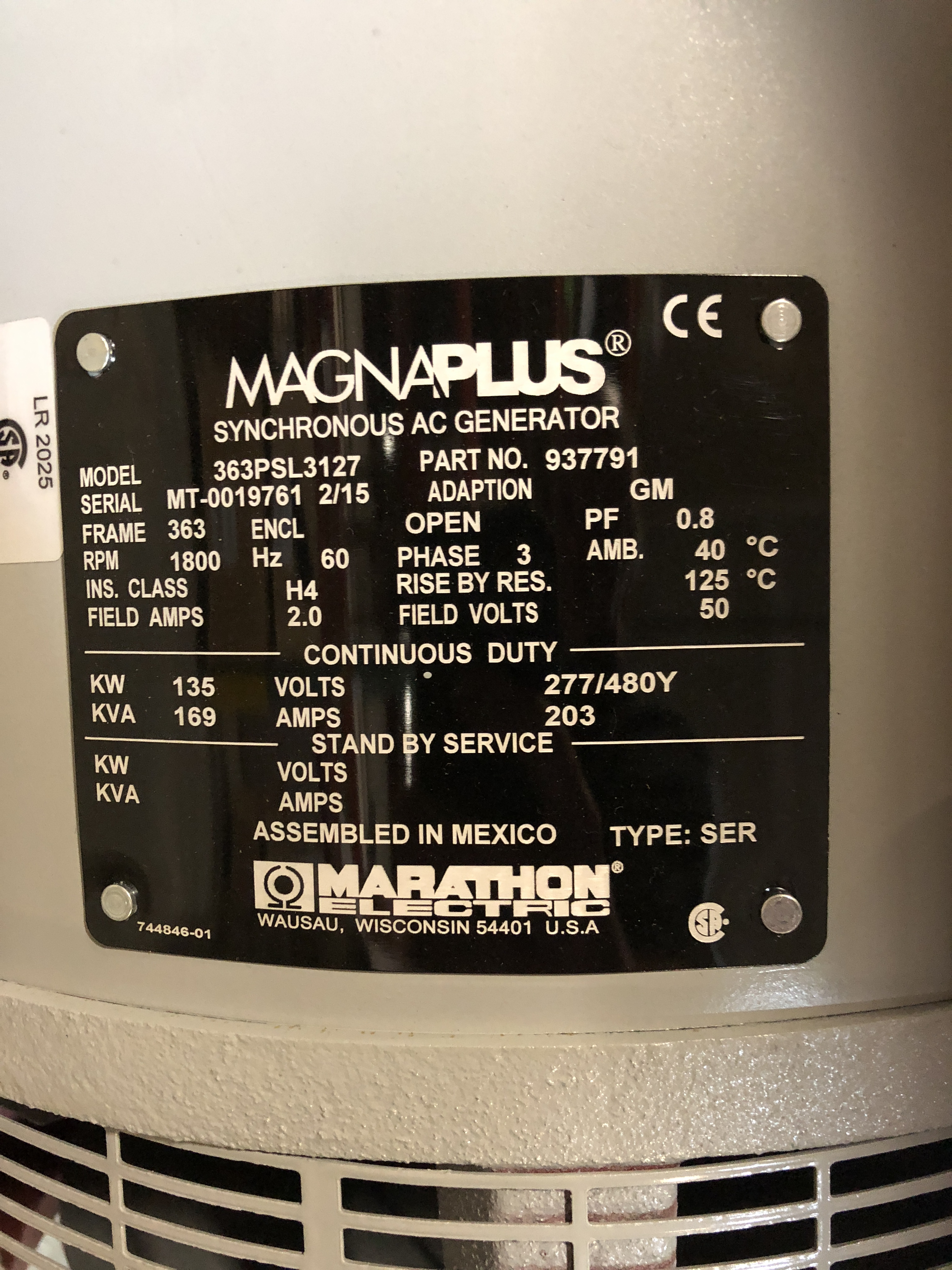Lot 5 - MAGNAPLUS SYNCHRONOUS GENERATOR MODEL-363PSL3127; 135KW/480V/4POLE/3PH/60HZ/1800RPM/363FRAME