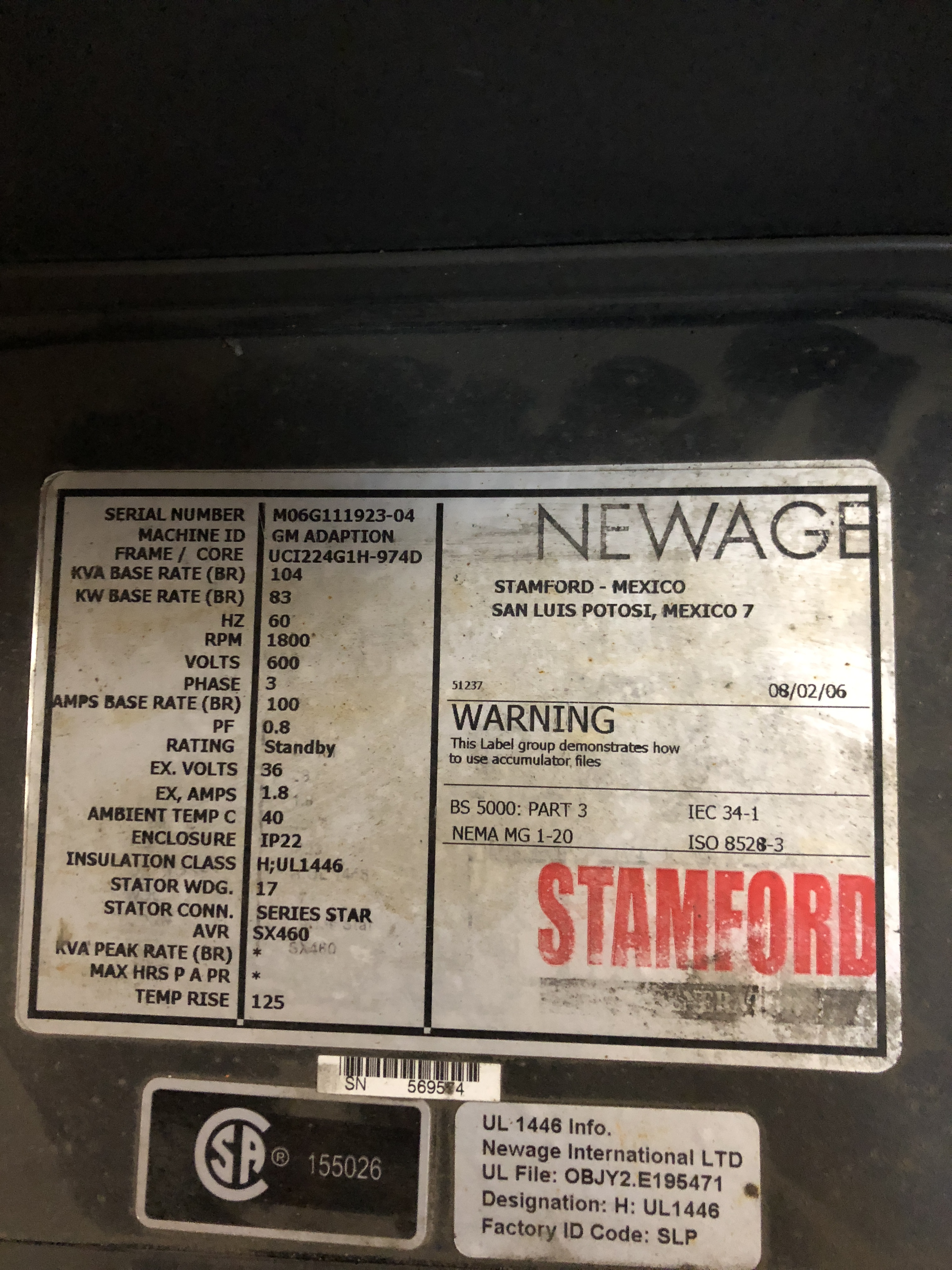 Lot 1 - STAMFORD NEWAGE GENERATOR 83KW/600V/4POLE/5PHASE(MISSING PARTS)