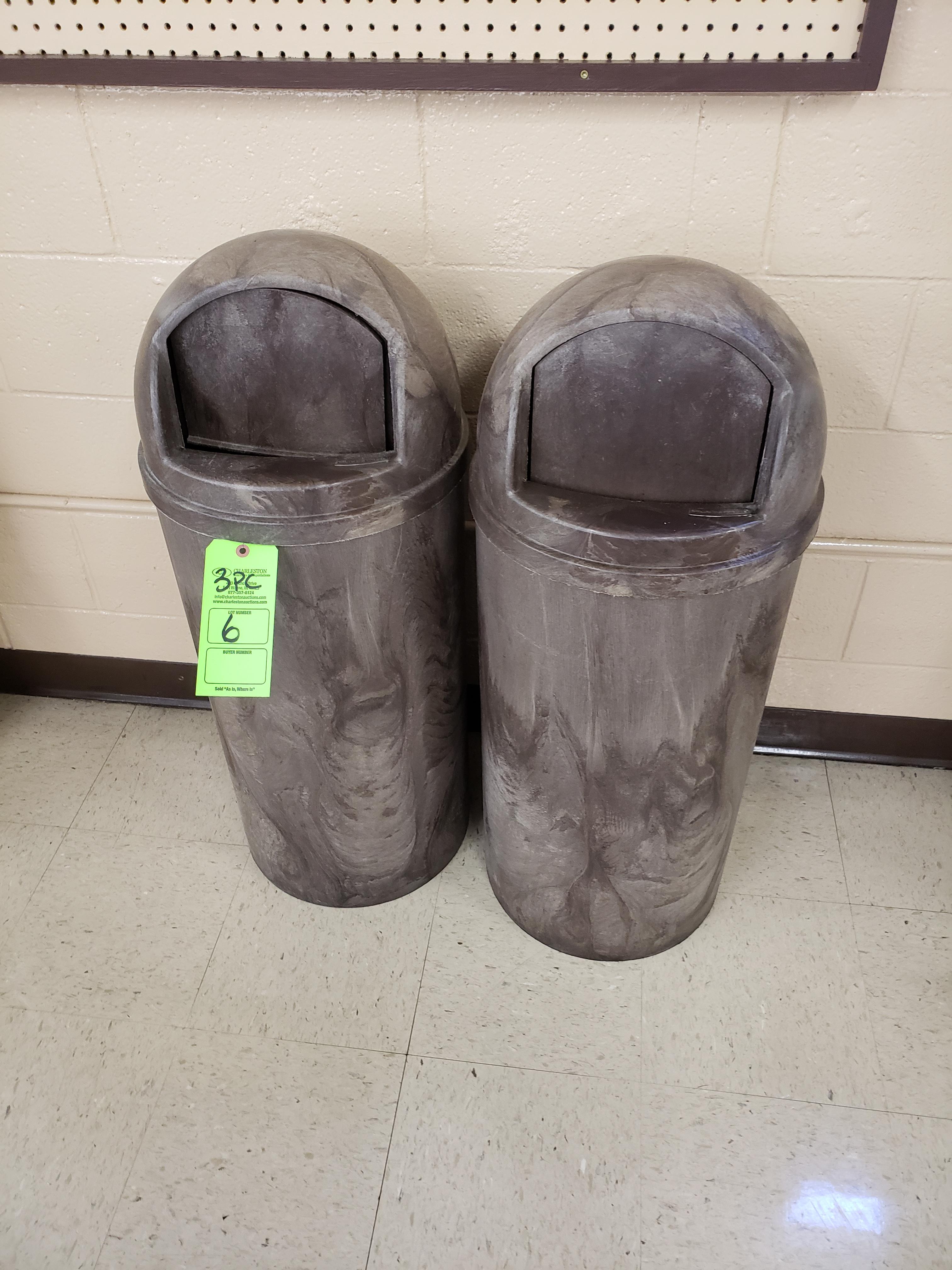 Lot 6 - (3) RUBERMAID TRASH CANS