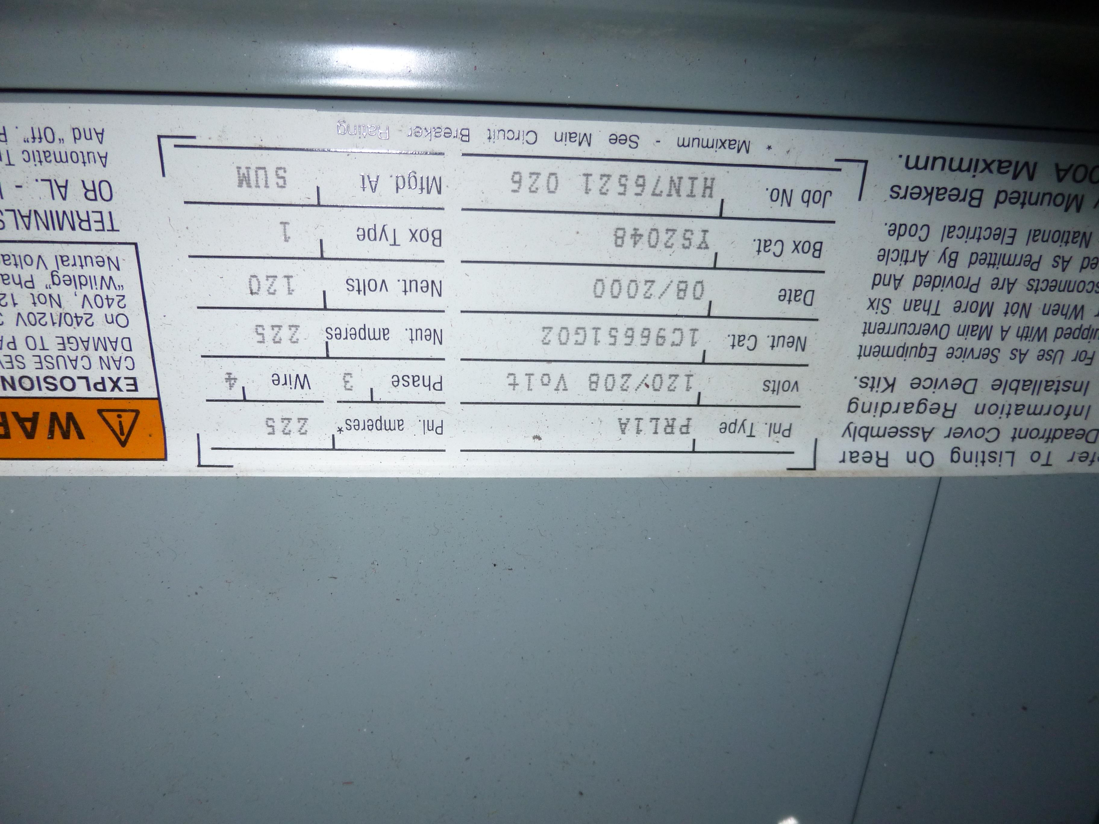 Lot 17 - Cutler Hammer model PRL1A, 225amp box, 120/208 volt, 3 phase, 4 wire, includes all breakers as