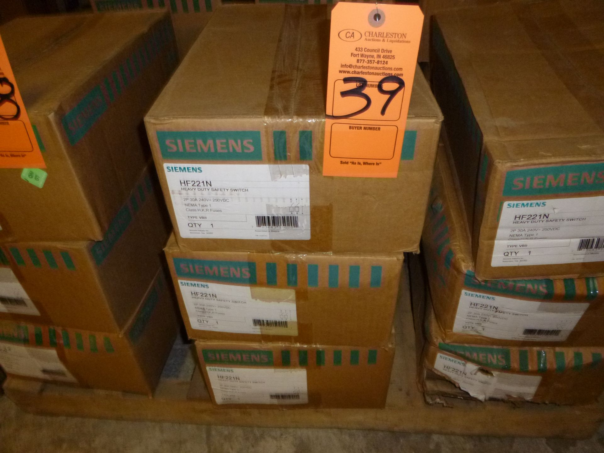Lot 39 - Qty 3 Siemens model HF221N, heavy duty safety switch, new in boxes