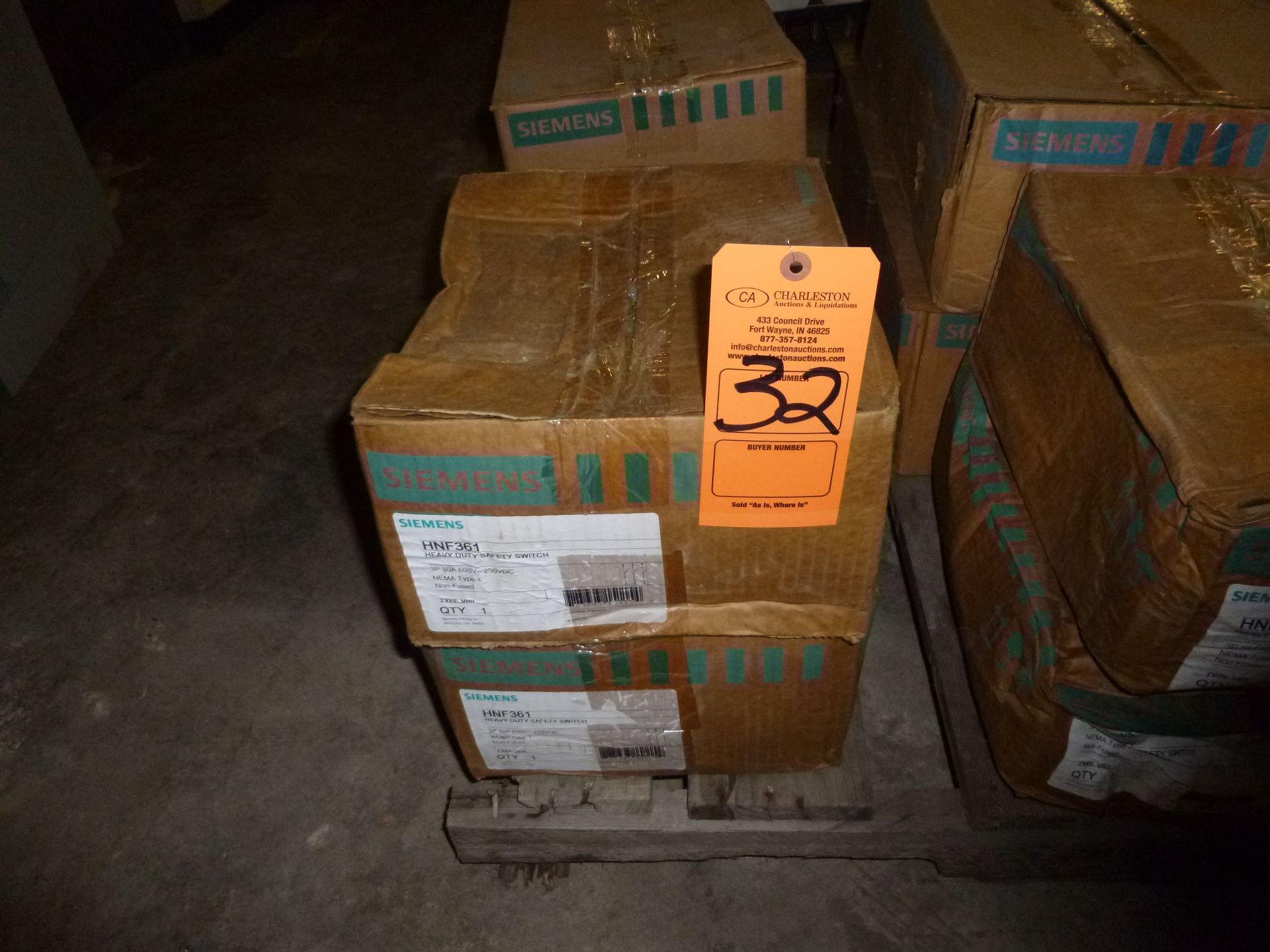 Lot 32 - Qty 2 Siemens model HNF361, heavy duty safety switch, new in box