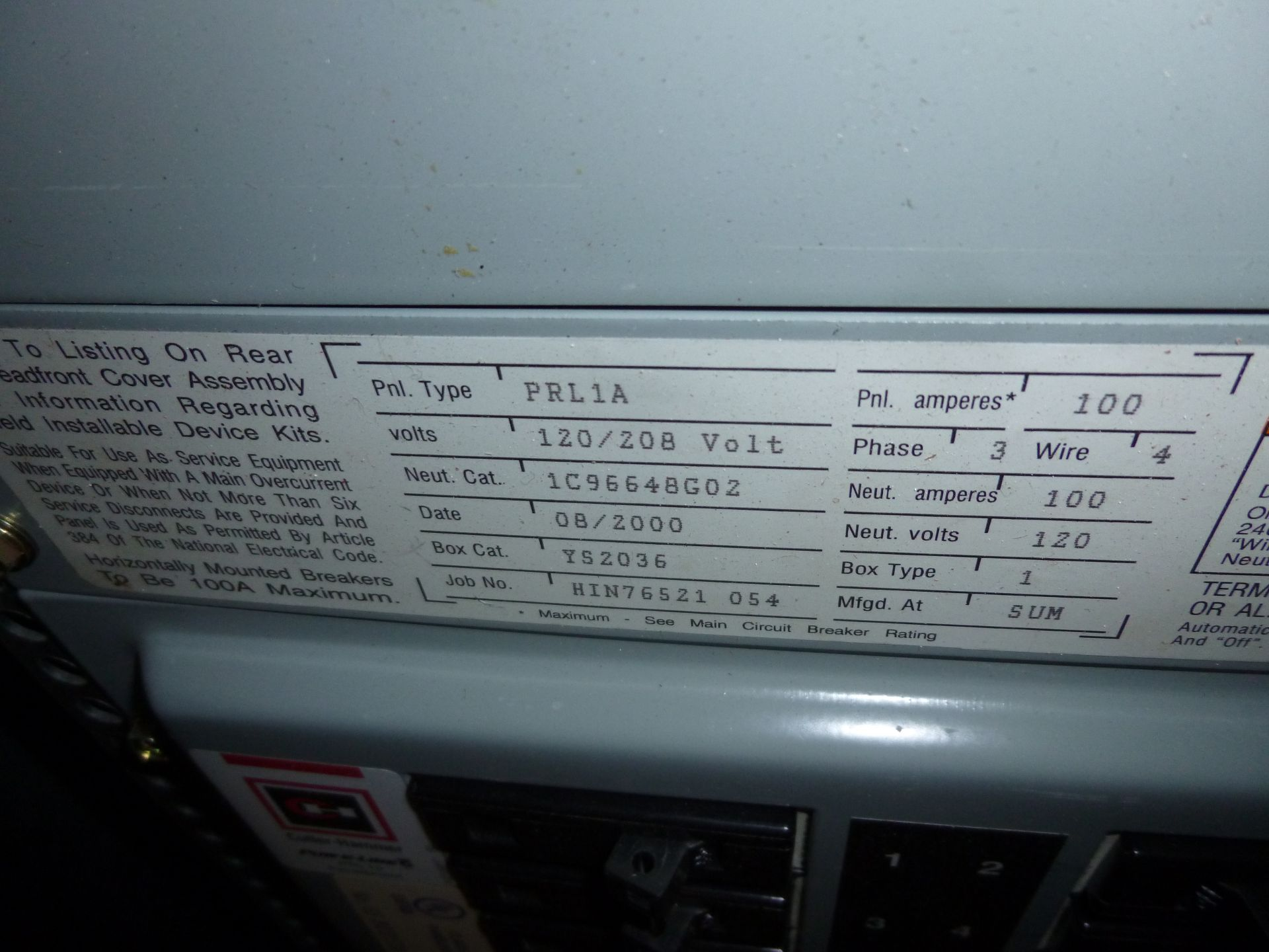 Lot 14 - Cutler Hammer model PRL1A, 100amp box, 120/208 volt, 3 phase, 4 wire, includes all breakers as