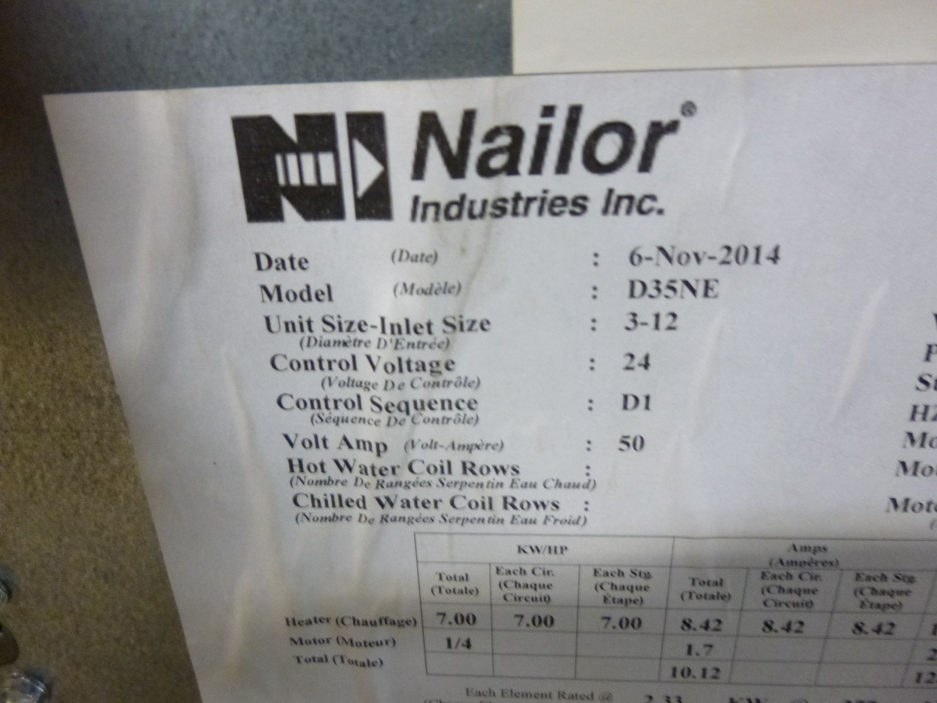 Lot 4 - Nailor Model D35NE Fan powered terminal duct unit with electric heating booster, 480v, 3 phase,