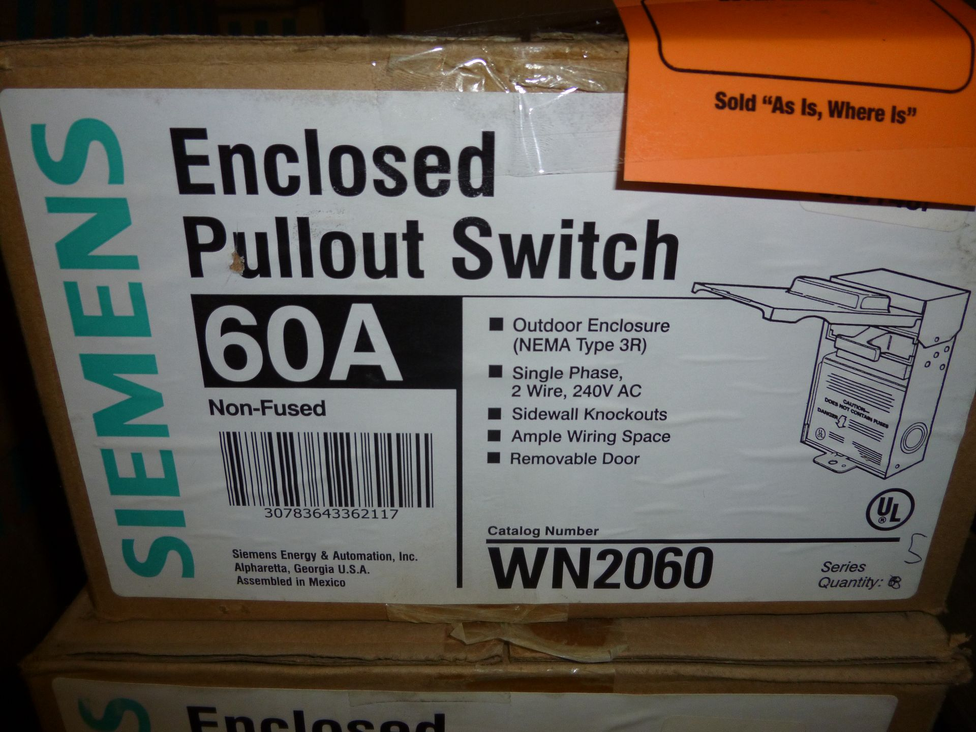 Lot 37 - Qty 2 Siemens model WN2060, 60amp enclosed pullout switch, new in box
