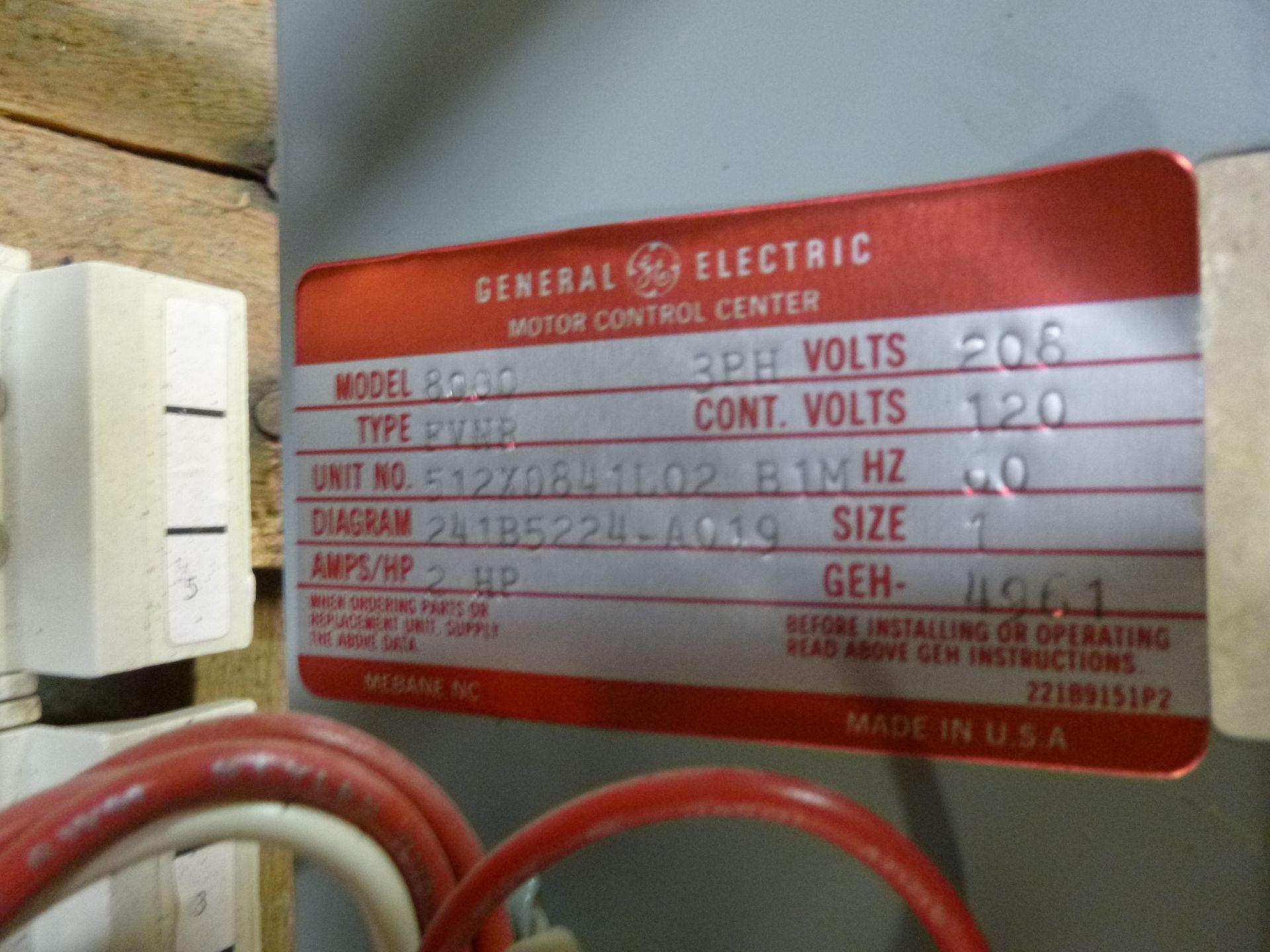 Lot 53 - GE motor control center MCC bucket model 8000, type FVNR, 3 phase, 208v, 2 hp, size 1 bucket,