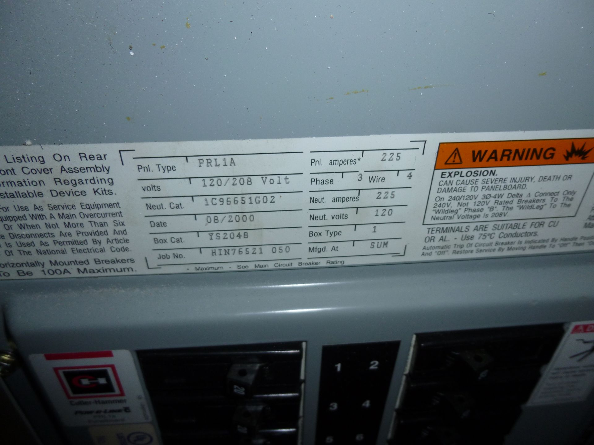 Lot 23 - Cutler Hammer model PRL1A, 225amp box, 120/208 volt, 3 phase, 4 wire, includes all breakers as