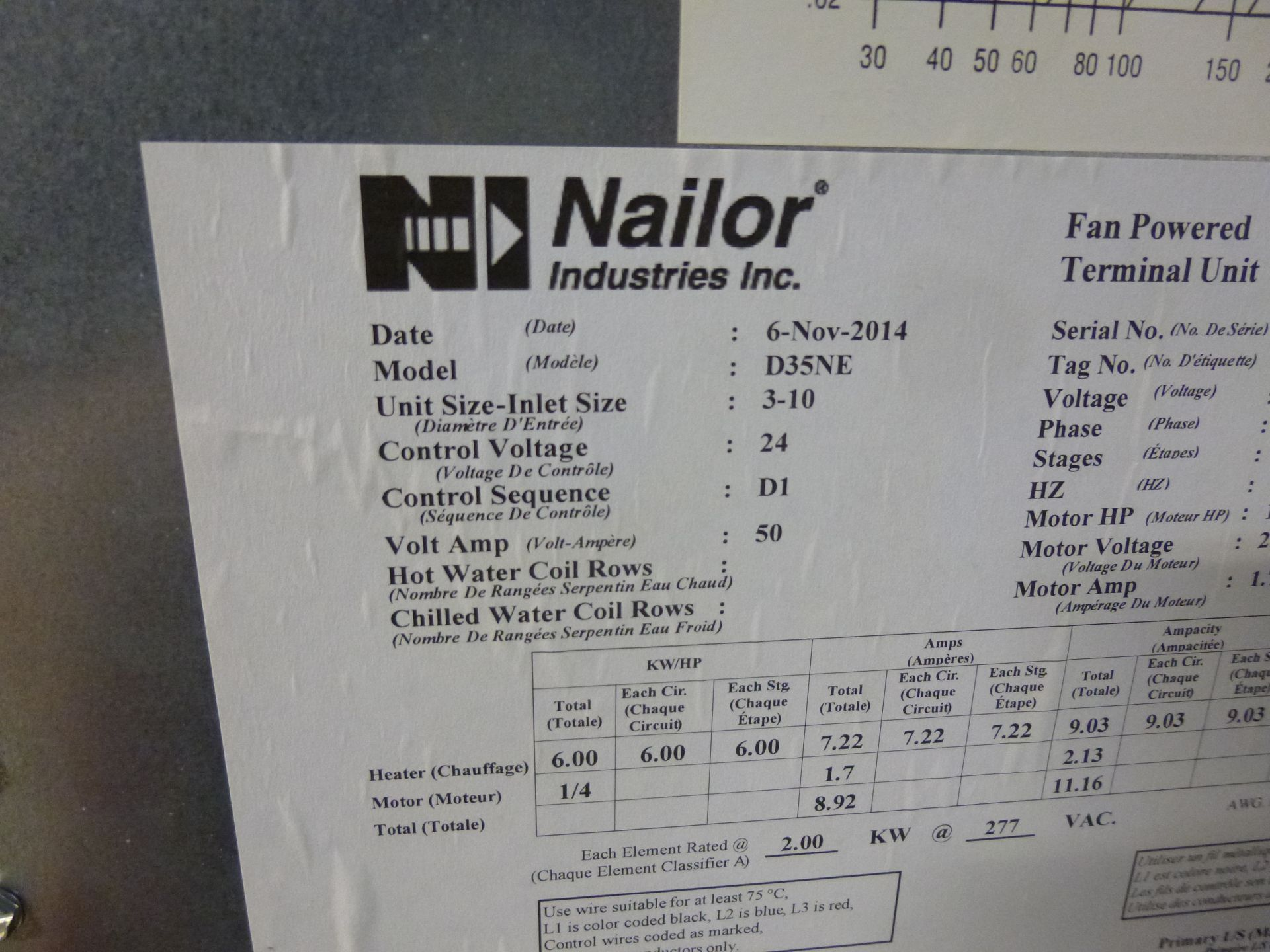 Lot 6 - Nailor Model D35NE Fan powered terminal duct unit with electric heating booster, 480v, 3 phase,
