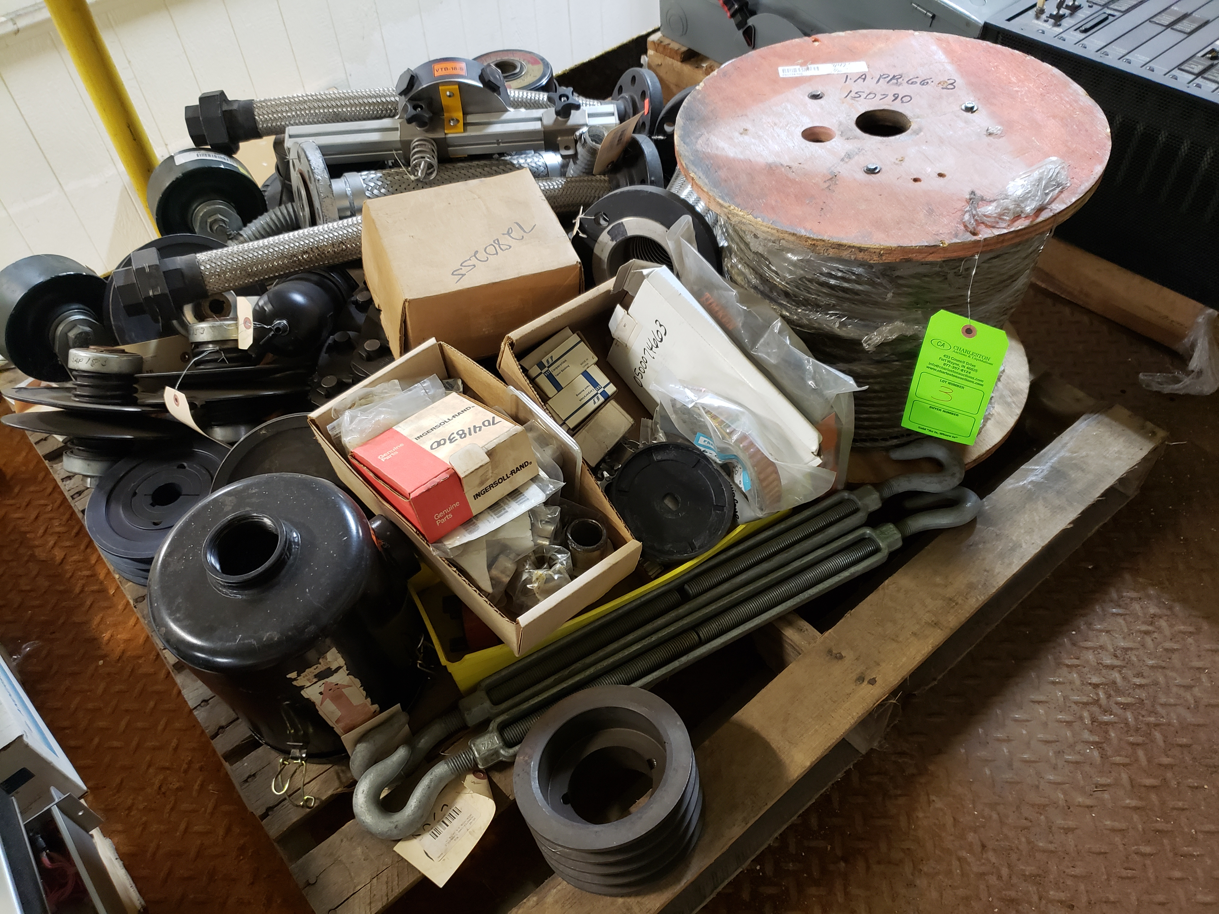 Lot 3 - PALLET OF CABLE; HOSES & TURN BUCKLES
