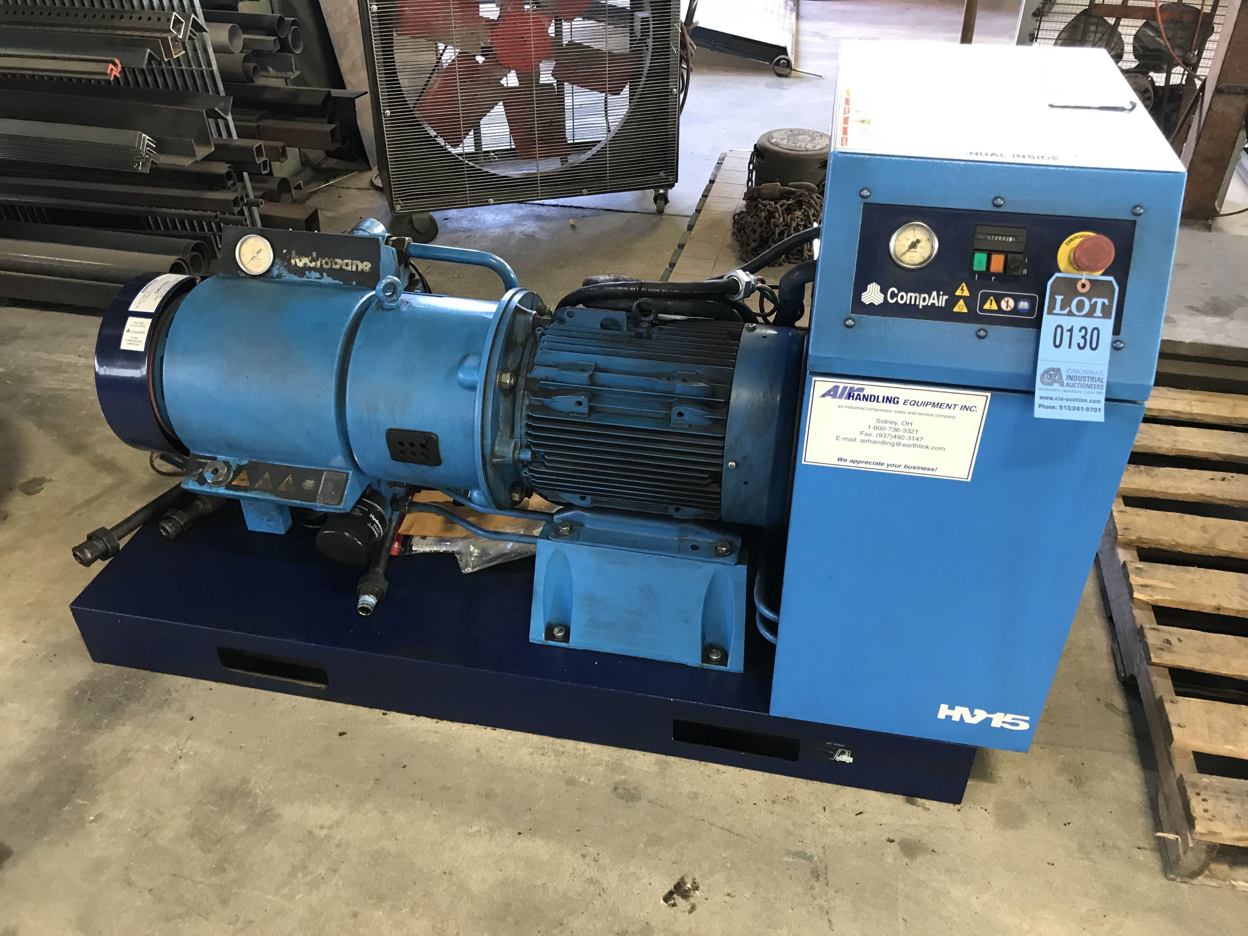 15 kw compair hydrovane model 715 psas08 skid mount rotary screw air rh  bidspotter com