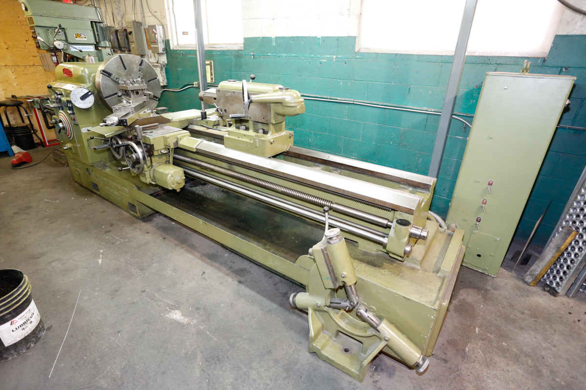"Lot 2 - JOHN LANG 24"" X 84"" GAP LATHE, QUICK CHANGE TOOLPOST, STEADY REST, 24"" 4-JAW CHUCK, 38"" FACEPLATE,"