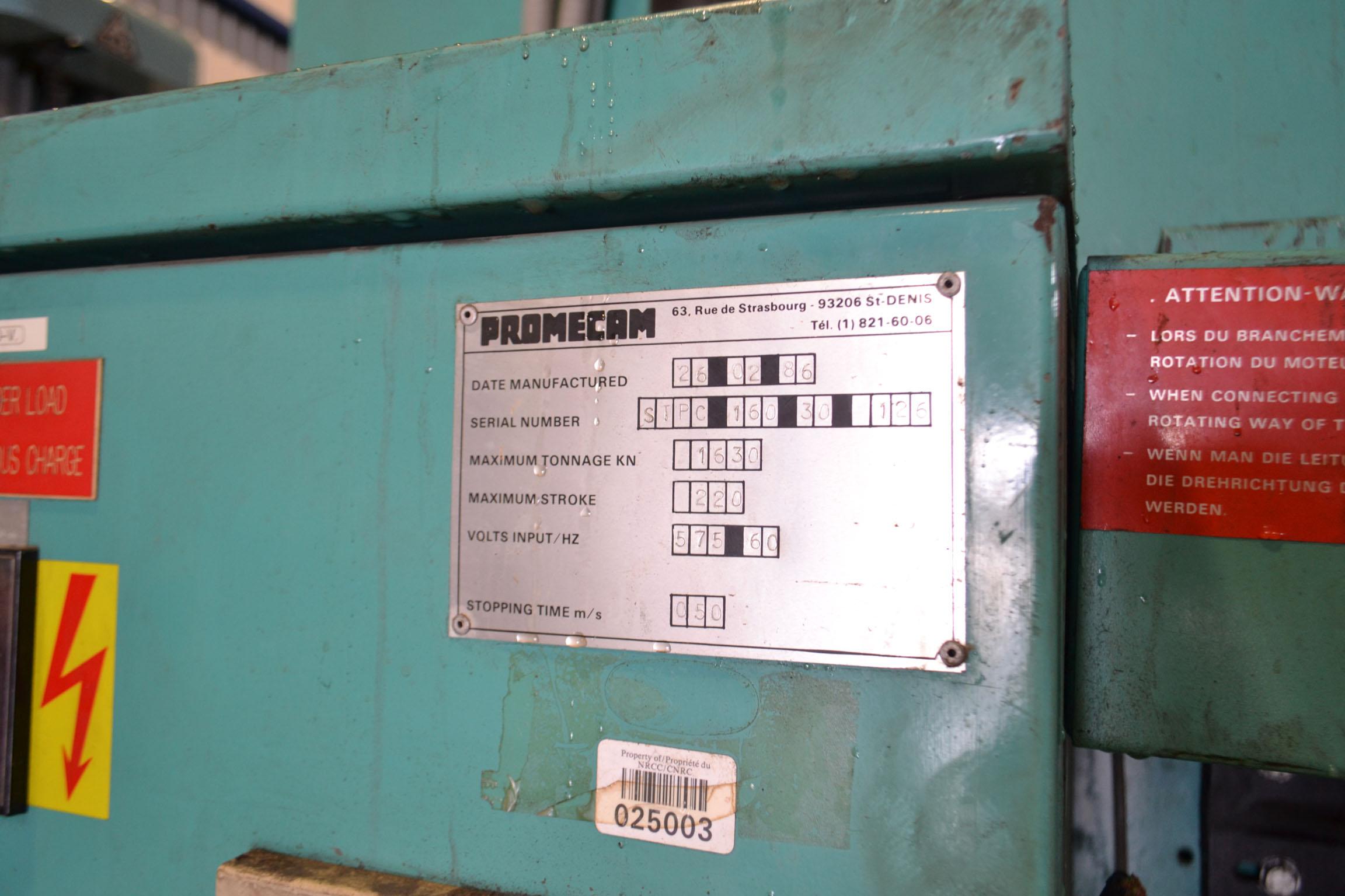 Lot 6 - PROMECAM 10' X 176 TON CNC PRESS BRAKE MOD. STPC1630126, 4-AXIS, 575 VOLTS, ** ELECTRICAL ISSUE** (