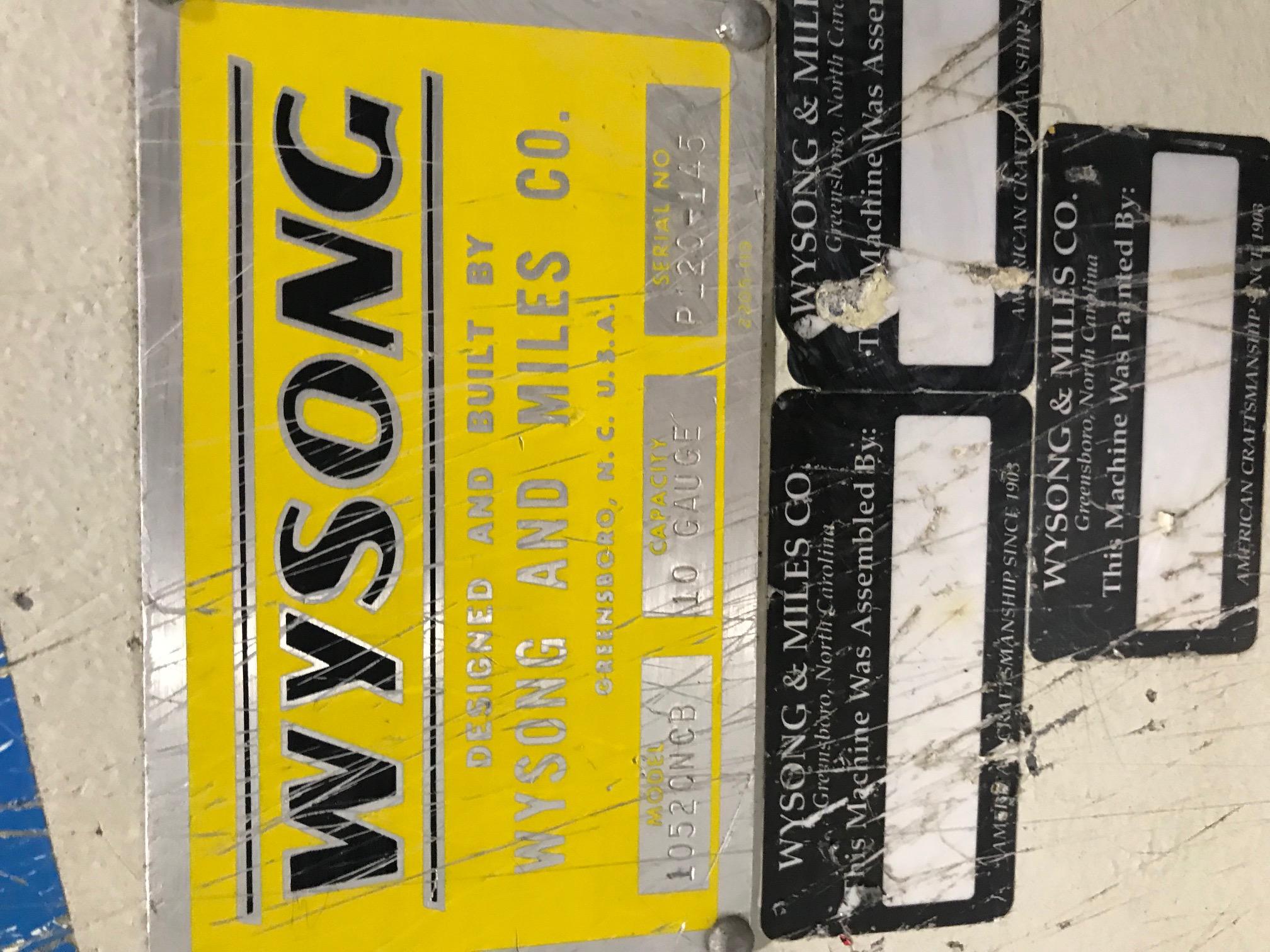 "Lot 9 - WYSONG 52"" X 10GA MECHANICAL SHEAR MOD. 1052CNCB, 60 STROKES/MIN. S/N: P120-145, PC100 BACKGAGE ("