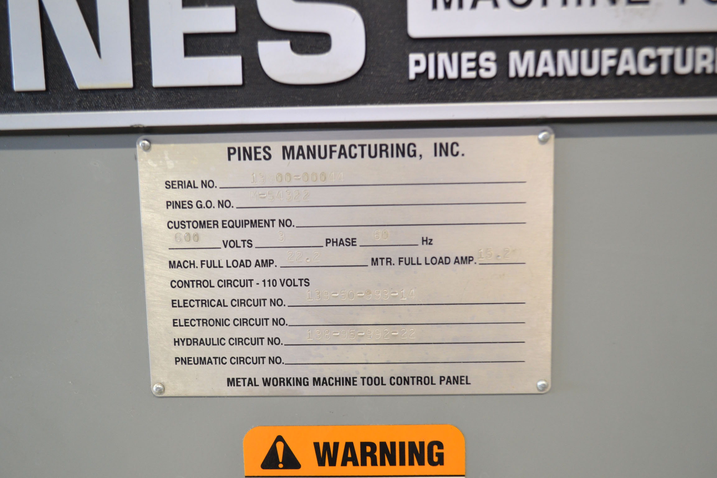 Lot 11 - PINES CNC TUBE BENDER MOD.150-20-A, S/N: 13800-00044 (RIGGING AT NO CHARGE)