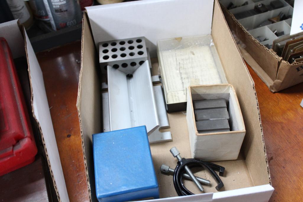 Lot 9 - Inspection Tools, Vee & 123 blocks, pin gauges