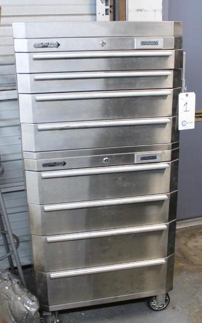 Lot 1 - 8 Drawer stainless tool box w/ mechanics tools