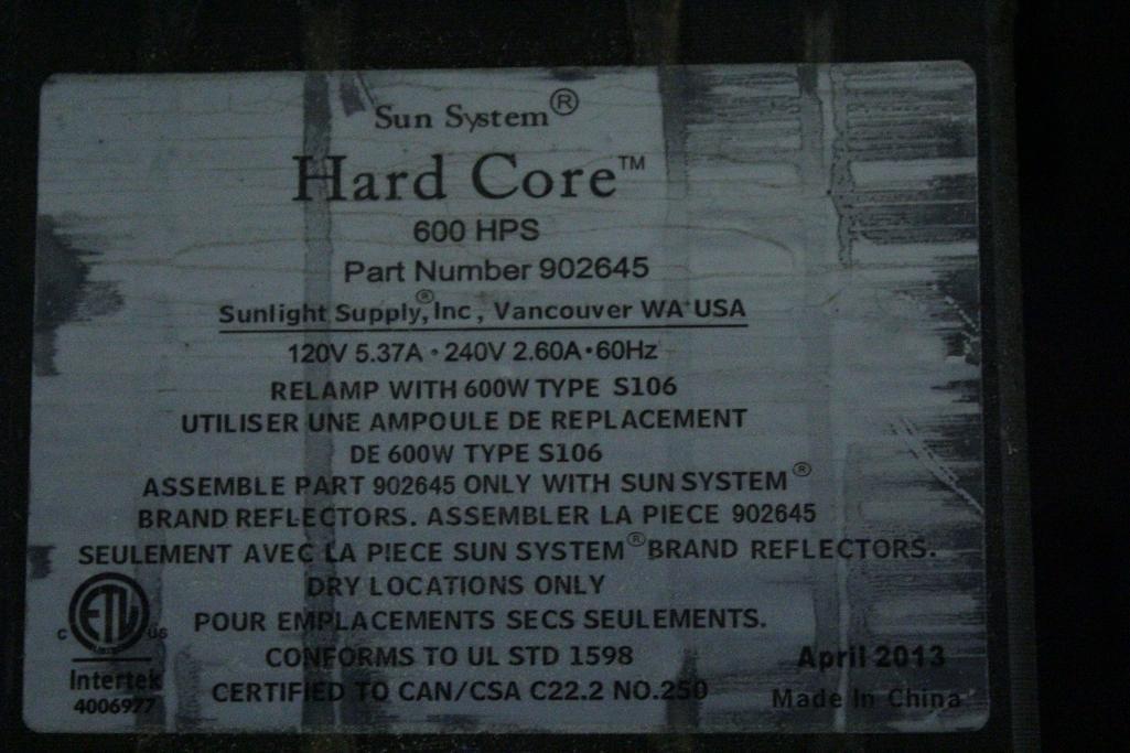 Lot 5 - Sun System ballast w/ reflectors & bulb SLS-CWA-HPS600A / 2T