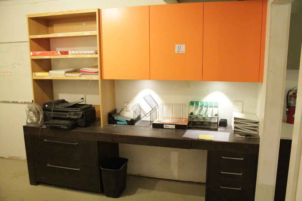 Lot 11 - Contents of office, cabinets, printer , monitor