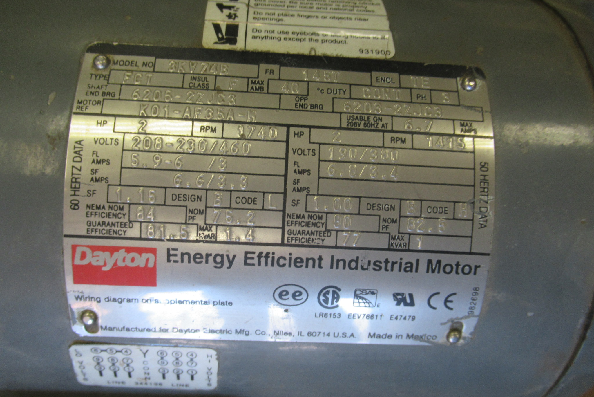Lot 51 - Dayton Single Phase 2 Hp Motor, 220V, m/n 3KV74B