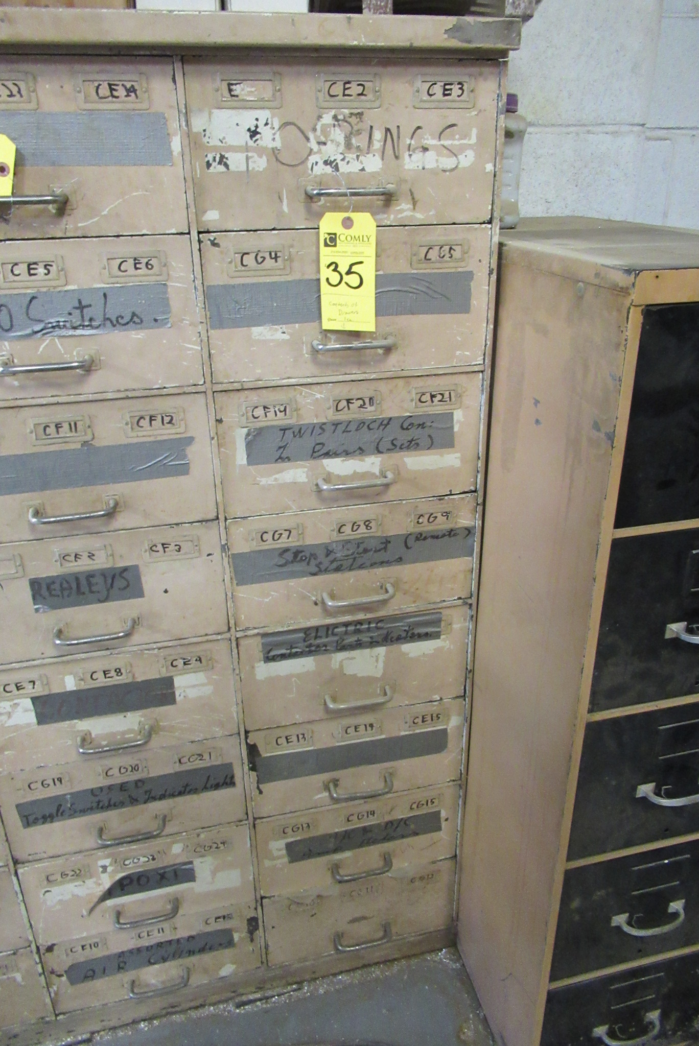 Lot 35 - Contents of Drawers: Bolts, Nuts, Bearings, Asst. (Lot)