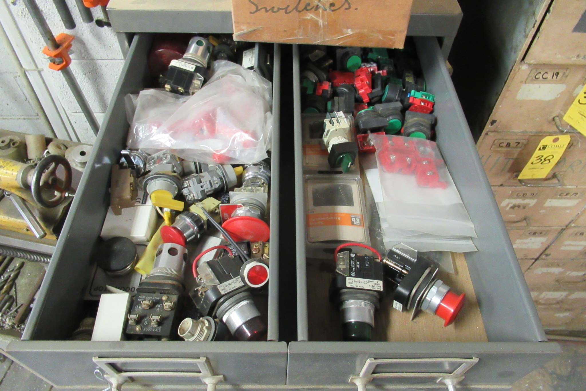 Lot 28 - Cabinet w/Contents: Bolts, Nuts, Bearings, Asst. (Lot)