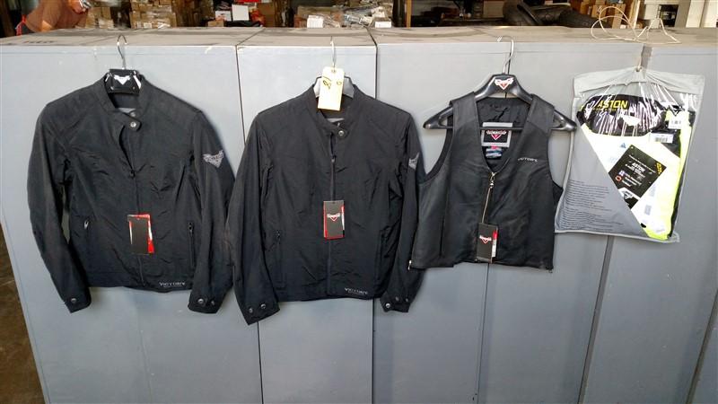 Lot 18 - NEW Victory: (2) Jackets / Vest & Rain Suit (Assorted) - VHDA: 7.25% Sales Tax charged - (1 x Bid)