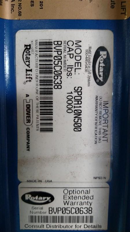 Lot 4 - Rotary SPOA10N500 / 10,000 Lb. 2-Post Surface Lift (Model Year: 2005) s/n BVP05C0638