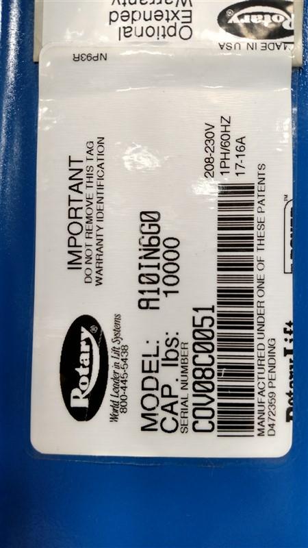 Lot 8 - Rotary A10IN6G0 (In-Bay) 10,000 Lb. 2-Post Surface Lift (Model Year: 2008) s/n COV08C0051 (1 x Bid)