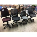 LOT OF 4 COMPUTER CHAIRS - DAMAGED