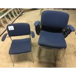 LOT OF 8 BLUE STACKABLE CHAIRS