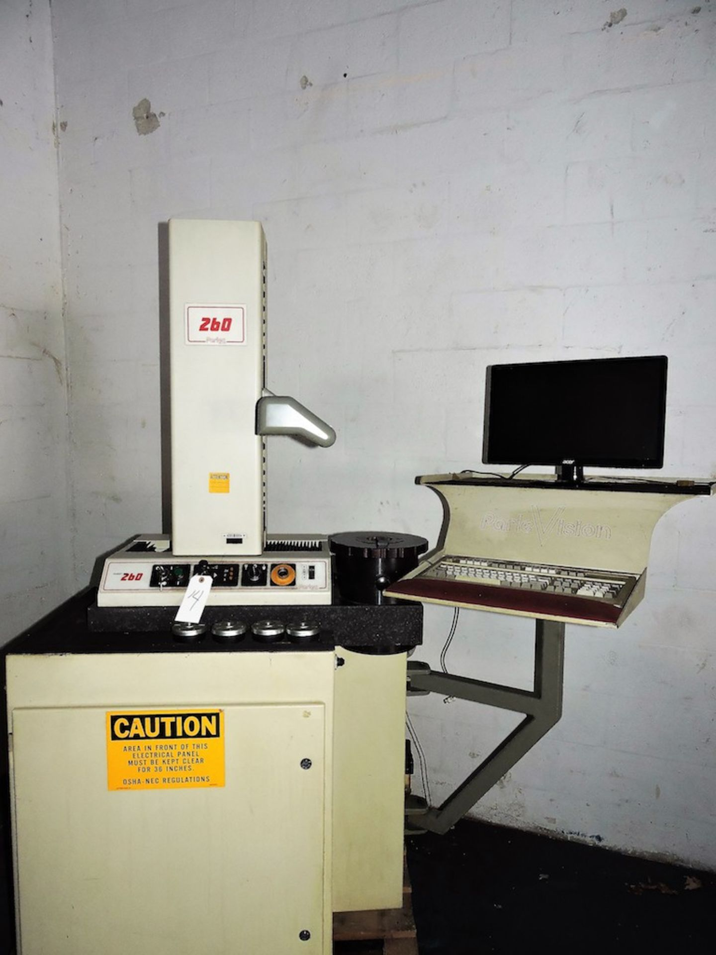 PARLEC P-260 PRE-SETTER ON TRU STONE BASE WITH CABINET AND COMPUTER